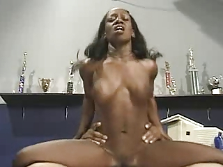 Ebony Babe Fucking Hard In Trophy Room