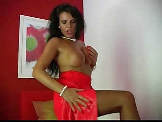 Lady Eve in a hot red dress