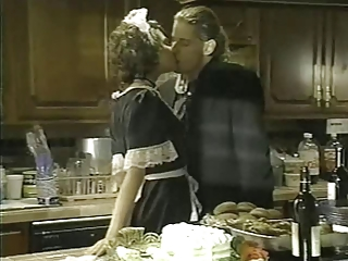 French maid drilled in the kitchen