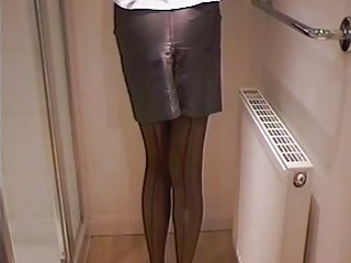 Leather Miniskirt Girdle & Stockings